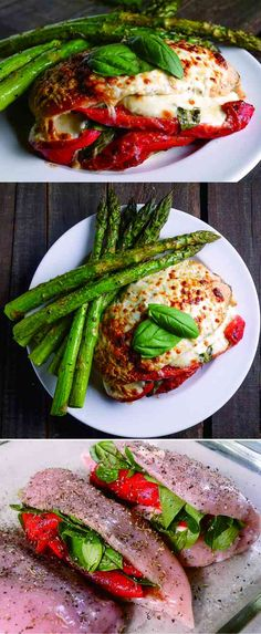 ROASTED RED PEPPER, MOZZARELLA AND BASIL STUFFED CHICKEN - basil, cheese, chicken, healthy, recipes, red pepper