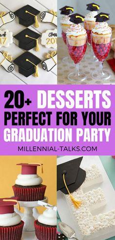 Delicious Graduation Dessert Ideas For Your Party - Millennial Talks Dessert Decoration, Dessert Table, Dessert Ideas, Graduation Party Desserts, Graduation Cupcakes, No Cook Desserts, Just Desserts, Delicious Desserts, Chocolate Chip Recipes