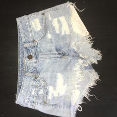 American eagle outfitters shorts light blue shorts, ripped, half way high wasted shorts. Pockets show when worn. American Eagle Outfitters Shorts Jean Shorts