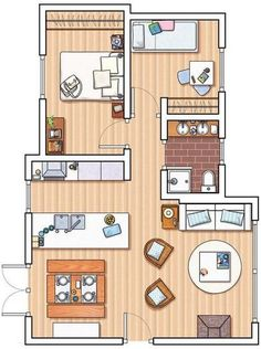 Good floor plan - needs larger/longer Living area Layouts Casa, House Layouts, Small House Plans, House Floor Plans, Small Apartments, Small Spaces, Apartment Floor Plans, Bedroom House Plans, Small House Design