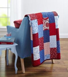Make a quick-to-assemble patriotic picnic throw or cozy cottage twin-size bed quilt from your favorite scrappy assortment of red, white, and blue prints.