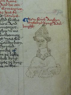St. Augustine, first Archbishop of Canterbury. Portrait from the margin a 15th c. Brut Chronicle [LPL MS84 f.52r.]