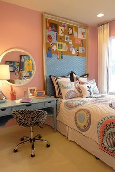 Some gold painted molding, a little cork board and some polka-dotted  fabric make an interesting headboard in this teen's room. For more DIY headboard ideas, go to http://decoratingfiles.com/2012/08/diy-headboards-10-creative-ideas/