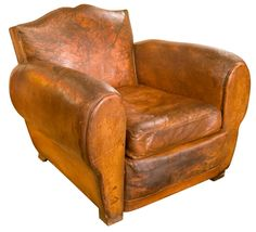 French Leather Club Chair C.1930 Love