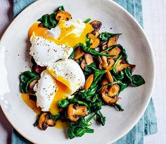 This scrumptious poached eggs with mushroom and spinach recipe is a hearty dish for feelin...