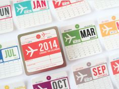 Double Takes: 2014 Luggage Tag Wall Calendar For Keep Track of Your Year's Adventures