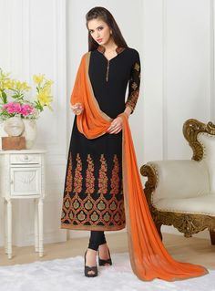 Black Georgette Kameez With Churidar 84669