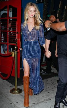 Rosie Huntington-Whiteley WHAT:  Vintage dress from The Reformation, Miu Miu boots WHERE:  On the street, West Hollywood