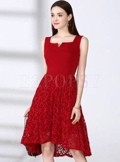 Shop for high quality Sexy Pure Color Hollow-out Splicing V-neck Sleeveless Skater Dress online at cheap prices and discover fashion at Ezpopsy.com