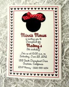 Minnie Mouse Invitations Red
