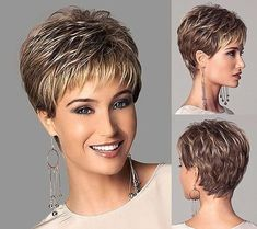 Chic style Synthetic wigs Short Straight hair Light Brown wigs with bangs Full Natural wigs Short Cropped Hair, Short Hairstyles For Thick Hair, Short Hair Older Women, Short Grey Hair, Very Short Hair, Short Straight Hair, Short Hair With Layers, Short Stacked Hair, Wedge Hairstyles