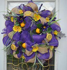 Lemon Spring Wreath Deco Mesh Wreath by TrendyWreathBoutique