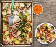 recipe for spice-crusted pork with potatoes and vegetables