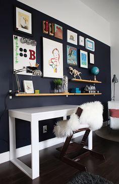 Bs blue wall tween make over reveal diy desk and shelves IKEA hack - great for home office! Modern White Desk, White Desks, White Desk Decor, Modern Art, Ikea Ekby, Ikea Desk, Kids Room Organization, Desk Shelves, Office Home