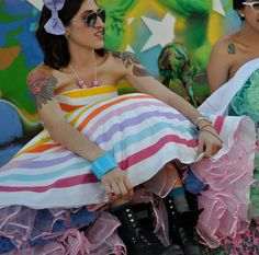 Offbeat rainbow bridesmaids dress