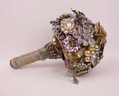 Heirloom filled Brooch Bouquet by baublesandbrides on Etsy, $375.00