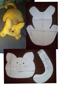 Cat possibly a bed buddy. Could be done in a woven fabric rather than felt Animal Sewing Patterns, Stuffed Animal Patterns, Sewing Patterns Free, Doll Patterns, Stuffed Animals, Fabric Crafts, Sewing Crafts, Sewing Projects, Cat Quilt