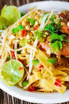 Pad Thai noodles with shrimp   easy Asian noodles, Asian shrimp recipes, shrimp pasta, seafood dishes