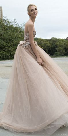 inbal dror 2016 wedding dress with strapless sweetheart corset ball gown wedding dress embellished bodice peplum taupe color style 04 sdv