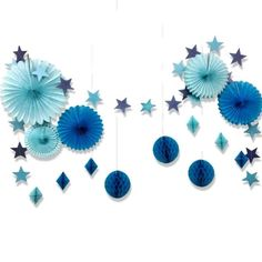 Blue Party Decoration Set Star Garland Honeycomb Balls Paper Fans Nautical Birthday Baby Shower Under the Sea Beach Party . Simple Birthday Decorations, Blue Party Decorations, Cheap Baby Shower Decorations, Tissue Paper Decorations, Tissue Paper Garlands, Baby Boy Birthday Themes, Pink Birthday, Star Garland, Paper Fans