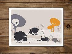 #Postkarte 'Friedegunde strickt' mit #Katze Friedegunde und den #Schafen Elsbeth und Gertrud. #Grußkarte
