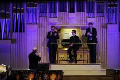 Ray Cooper, Sir Elton John, organ student Peter Holder and Jonathan Freeman-Attwood, Principal, celebrate the new instrument. © Royal Academy of Music, October 2013 Royal Academy Of Music, October 2013, Student, Celebrities, Celebs, College Students, Foreign Celebrities, Celebrity
