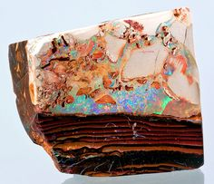 Gem Boulder Opal in brown ironstone matrix   from Quilpie, Quilpie Shire, Queensland, Australia   via www.exceptionalminerals.com