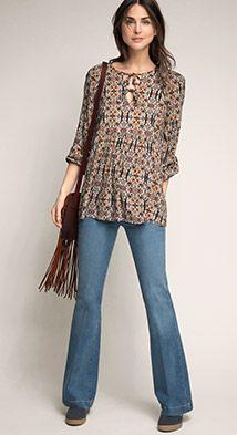 Esprit / Tunika-Bluse mit Print