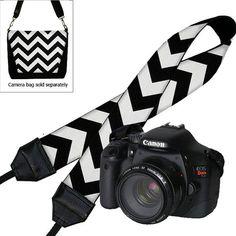 SALE Chevron Camera Neck Shoulder Strap for Women Dslr Padded Camera Strap Slr Padded Strap Travel Camera Strap black white  (RTS) on Etsy, $24.99