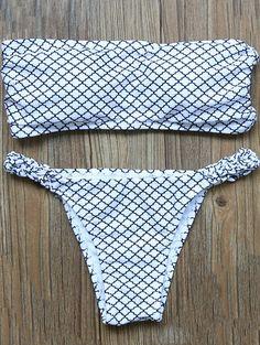 V-String Bandeau Bikini Set - WHITE M
