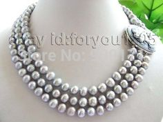 Free Shipping>>3rows Natural 8-9mm Round Gray Pearl Necklace Cameo #Affiliate