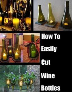 How To Easily Cut The Bottom Off A Wine Bottle : I am SOooo making these, especially the hangy ones. Be great for my store. How To Easily Cut The Bottom Off A Wine Bottle Cutting Wine Bottles, Wine Bottle Corks, Bottle Cutting, Wine Bottle Crafts, Cut Bottles, Bottle Bottle, Diy Projects With Wine Bottles, Recycle Wine Bottles, Wine Bottle Planter