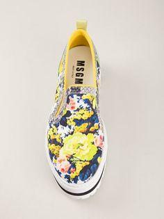 31416d18291 MSGM FLORAL PLATFORM SLIP ON SNEAKERS Platform Slip On Sneakers