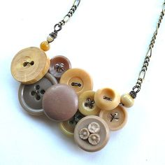 Nude Neutral Tan Button Necklace Repurposed by buttonsoupjewelry, $30.00