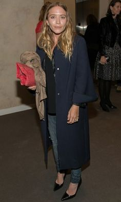 Olsens Anonymous Blog Mary Kate Olsen Olivier Sarkozy Take Home A Nude Benefit Event Minimal Make Up Navy Coat Blouse Denim Patent Pointed Heels Bare Beauty Photo by olsensanonymous | Photobucket