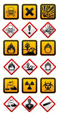 New and Old Hazard Symbols #GraphicRiver New and Old Hazard symbols • These are editable vector files. • Available RGB color Attached ZIP folder contains: • EPS vector file is saved in file format EPS v. 8 • AI (Illustrator CS4) • PSD (layered, 300dpi) • JPG image has high resolution 5000×5000 pixels • CDR v.10 In this set icons, I draw: GHS hazard pictograms • Explosive • Flammable • Oxidising • Compressed Gas • Corrosive • Toxic • Irritant • Health hazard • Environmentally Damaging…