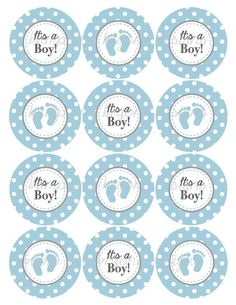 Cupcake Toppers Child Bathe Decorations Powder Blue Gray Favor Tags Diy  Printable INSTANT DOWNLOAD 249. Learn More By Going To The Image