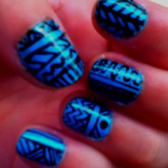 Tribal print blue nails. Done with a Sally Hansen nail pen. Easy and fun!