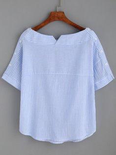 Blusa a rayas escote barco con botones -azul-Spanish SheIn(Sheinside) Sitio Móvil