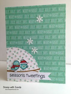 Card Christmas sparrows birds Stamp with Sandy: Season's Tweetings Christmas card - Lawn fawn #wintersparrows seasons tweeting