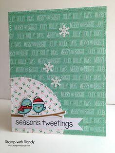 Card Christmas winter sparrows birds Stamp with Sandy: Season's Tweetings Christmas card - Lawn fawn #wintersparrows seasons tweeting