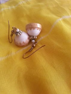 White and Gold Earrings by RooCreatives on Etsy