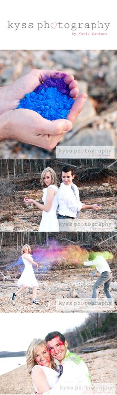 Engagement paint war session..maybe with water colors so their skin doesn't get stained.