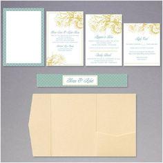 Download & Print Aqua Gold Wedding Invitations Step 3