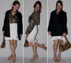 Look do dia no blog de moda: como usar saia peplum, blusa transparente estampa de cobra, sandália Schutz e bolsa Gucci. Veja o passo-a-passo do look do dia