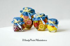 Dollhouse Miniature Preserved Fruit with Luxury Flatware by WindyPointMiniatures