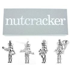 Nutcracker Band 4 Pc. Pewter Christmas Ornament Set Gift Boxed