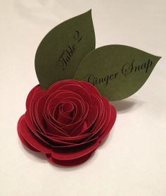 50 Made To Order Custom Paper Rose Place Cards by MonAmiePaperie, $120.44