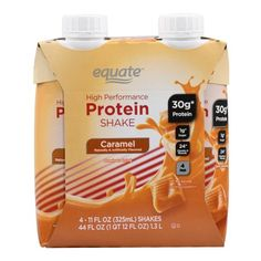 Equate High Performance Caramel Protein Shake, 11 Fl Oz, 4 Pk, Brown Milk Protein, Protein Shakes, Nutrition Drinks, Healthy Drinks, Meal Supplement, 30 Grams Of Protein, Vitamin K1, Low Sugar Diet, Pantothenic Acid