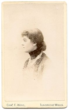 Carte de visite by C F Wing, Tunbridge Wells. Written on the back is 'Aunt Fanny Smythies, 1885'. Her maiden name was Heigham. Please click the image for more information.